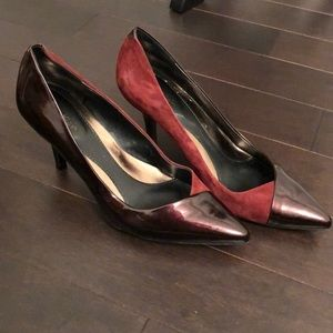 Maroon Suede and Leather Calvin Klein Heels